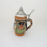 Vintage German Beer Stein, Barrel Beer Stein, Western German Lidded Stein