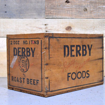 VIntage Wood Crate, Derby Foods Crate, U.S. Army Shipping Crate, Antique Wood Box, WWII Era