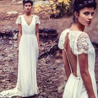 Short Sleeve Beach Boho Wedding Dresses Appliques Sexy V Neck Open Back Bohemian Bride Bridal Gowns vestido de novia casamento
