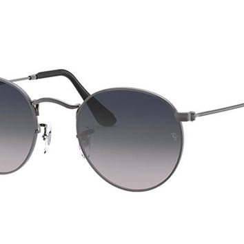 Ray-Ban ROUND METAL Collection RB3447 Gunmetal - Metal - Blue/Grey Polarized Lenses - 0RB3447004/7850 | Ray-Ban® USA