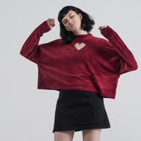 Lazy Oaf Maroon Velvet Heart Hole Long Sleeve T-shirt - Everything - Categories - Womens