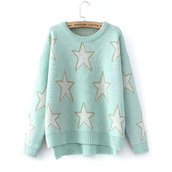 Women's Fashion Split Winter Long Sleeve Pullover Sweater [9609415311]