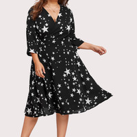 Allover Star Print Wrap Dress -SheIn(Sheinside)