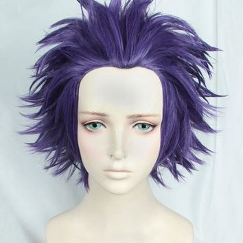 My Hero Academia Boku no Hiro Akademia Shinsou Hitoshi Shinso Short Dark Purple Heat Resistant Cosplay Hair Wig + Track + Cap