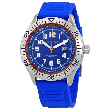 Nautica NSR 105 Blue Dial Mens Blue Silicone Watch NAD12535G