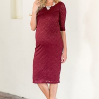 Burgundy-Lace-Maternity-Dress