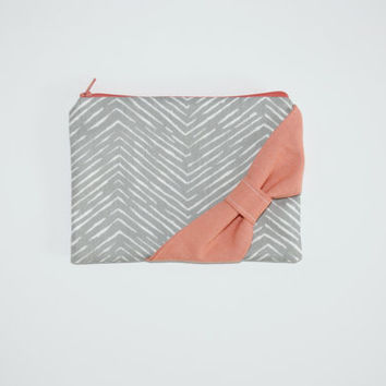 Cosmetic Case / Zipper Pouch / Makeup Bag - New Gray Chevron with Orange Coral Bow - Choice of Bow Style