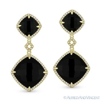 Jet Black Onyx & 0.40ct Round Cut Diamond 14k Yellow Gold Dangling Drop Earrings