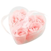SODIAL(R) 6 Pcs Light Pink Decorative Fragrant Rose Bud Petal Soap Wedding Favor