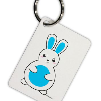 Cute Easter Bunny - Blue Aluminum Keyring Tag by TooLoud