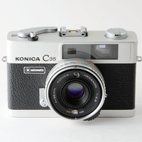 Konica C35 Automatic 35mm 1970s Rangefinder Camera with Case Working