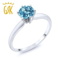14K White Gold 0.90 Ct Blue Topaz Engagement Solitaire Ring
