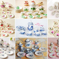 ping!Lot of 15pcs Tea Cup Set NEW Dining Dish Plate ~ 1/12 Scale Dollhouse Miniature Furniture For Doll China Toy