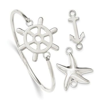 Sterling Silver Bangle Bracelet with Interchangeable Nautical Center Charms