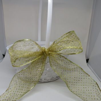 White Woven Flower Girl Basket with Gold Polka Dotted Bow-Wedding Decor-Country Decor-Home Decor-Gift Idea-Catch All Basket-Storage