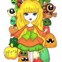 Cute Girl, Anime art, Original drawing, Pullip Blythe Doll, Yellow Orange Green, Lowbrow, Pop surrealist