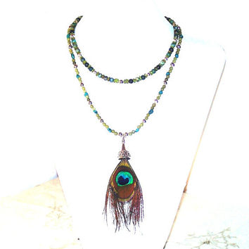 Stone Peacock Necklace, Turquoise, Chrysocolla, Peridot, Serpentine, Blue Green Semi Precious Stone with Real Peacock Feather Pendant