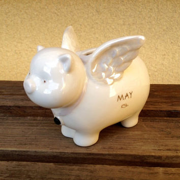 Pennies From Heaven White Porcelain Pig ~ Angel Pig Coin Bank - Piggy Bank - Emerald May Birthstone - May Birthday Gift - Iridescent Wings