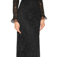 Valentino - Lace Long Sleeve Evening Gown
