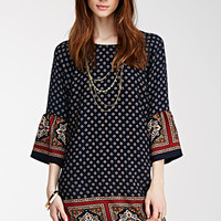 Abstract Medallion Shift Dress
