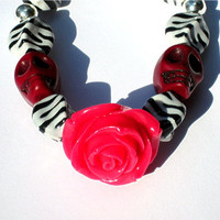 Rose & Skull Zebra Bracelet Dia de los Muertos, Day of the Dead, Halloween, Samhain