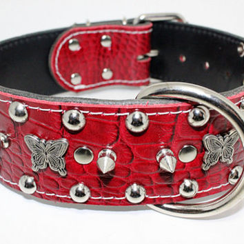 "2"" Red Leather Dog Collar With Butterflies And Studs -  Red Leather Dog Collar"