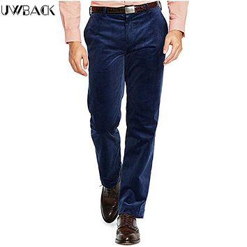 Uwback 2017 New Arrival Casual Pants Men Plus Size Corduroy Straight Winter Men Warm Pants Long Trousers Casual Pants Men CAA168