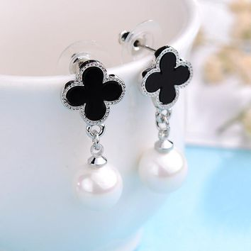 Fashion Rhodium/Gold-color Long Earring Classic Black Four Leaf Clover Simulated-pearl Stud Earrings Gift for Girl Jewelry