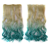 Dyed 5 Cards Gradient Ramp Hair Extension Wig    beige to lake blue