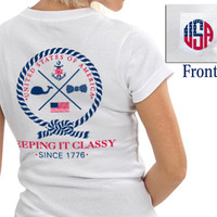 USA Women's Short-Sleeved Pocket Tee in Red White, and Blue