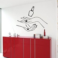 Wall Decor Vinyl Decal Sticker Manicure Nail Varnish Girl Hand Beauty Spa Salon Kg516