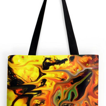 ON SALE Fine art Tote Bag expressionist  geometric abstract impressionist nature seed doubt double sided print