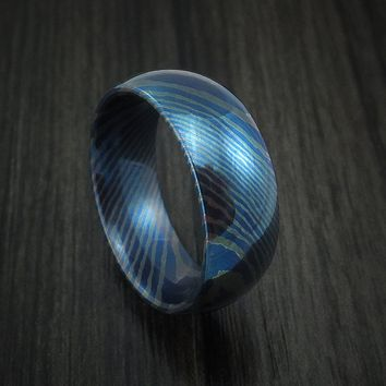 Titanium Mokume Men's Ring with Heat Treatment Custom Made Band