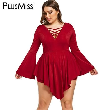 PlusMiss Plus Size 5XL Summer 2018 Red Sexy Asymmetrical Flare Bell Long Sleeve Jumpsuits Women Big Size Lace Up V Neck Romper