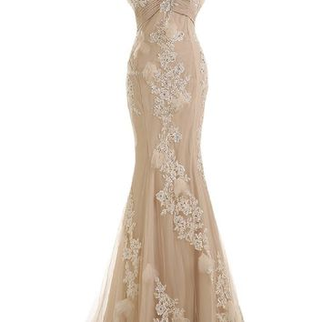 Sunvary Gorgeous Champagne Mermaid Wedding Dresses For Bride Lace And Chiffon Prom Eve