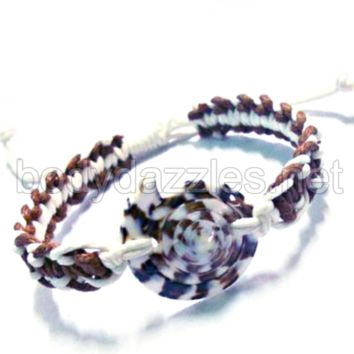 Round Shell Rope Pull String Adjustable Bracelet One Size Fits Most