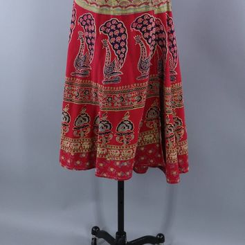Vintage 1980s Peacock Print Wrap Skirt / Indian Cotton