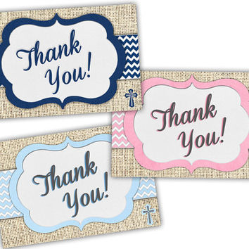 Burlap Baptism Thank You Cards - Communion Thank You Cards - Burlap Baptism - Pink - Navy Blue - Baby Blue - Religious Thank You Cards Boy