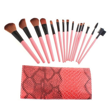 15PCS Makeup Brushes Tools Cosmetic Brush Set Eyebrow Comb with Roll up Snake Pattern Bag = 1646041988