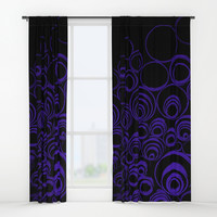 UV, dark blue scrolls on black pattern, circles, round, geometric Window Curtains by Casemiro Arts - Peter Reiss