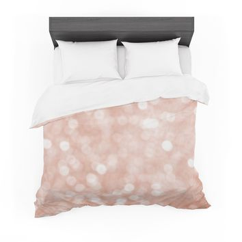 "Susan Sanders ""Blush Rose Sparkle"" Coral Pastel Bokeh Photography Featherweight Duvet Cover"