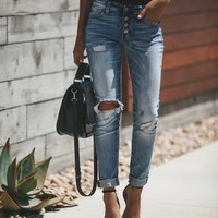 Vintage Weathered Stretch Ripped Holes High Waist Jeans [1564268789814]