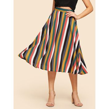 Multicolor Mid Waist Vertical Striped Pleated Skirt