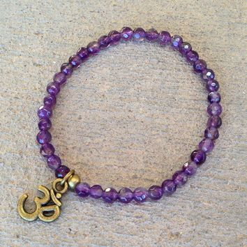 "Seventh Chakra, Fine Faceted Amethyst ""Healing"" Gemstone Bracelet with Om Charm"
