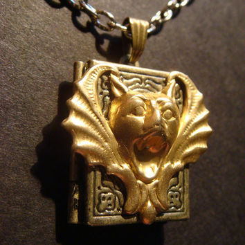 Victorian Style Steampunk Gargoyle Locket Necklace (380)