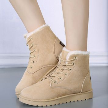Winter snow boots women boots warm cotton shoes lace Flat with student boots