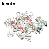 Kicute 24pcs/pack 19mm Mini Colorful Metal Photo Holder Paper Clips Binder Clip Paperclip Clamps School Office Accessories