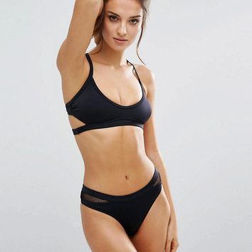 Free Society Meshin Around Black Bikini at asos.com