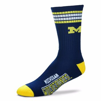MICHIGAN WOLVERINES 4 STRIPE BLUE CREW SOCKS SIZE YOUTH NEW FOR BARE FEET