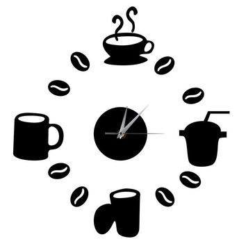DIY Modern Home Decoration Large Coffee Cup Decal Kitchen Wall Clocks Silent Watch Decals